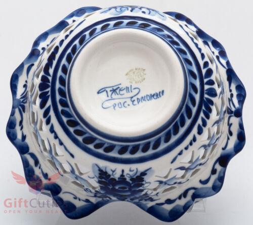 Gzhel Porcelain candy dish bowl basket Hand-painted Author/'s work