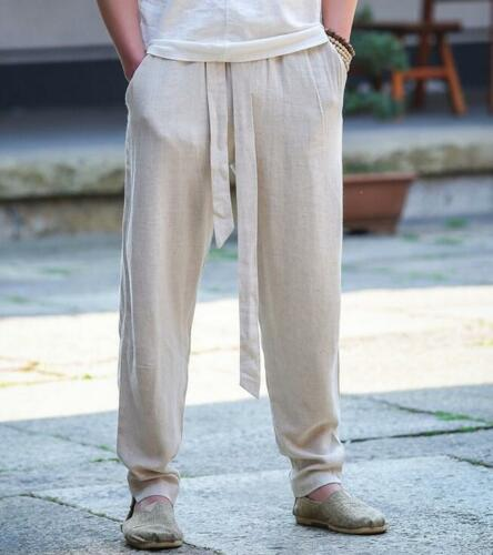 M-5XL Mens Chinese Cotton Linen Harem Pants Kung Fu Casual Trousers Solid Slacks