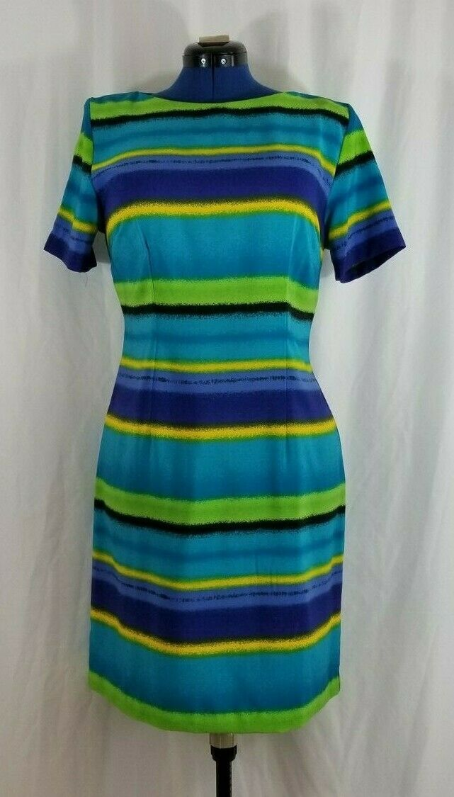 Women's Short sleeve Striped Dress w Shoulder pads Prophecy by Sag Habor size 10