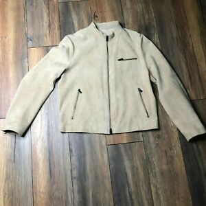ARMANI-COLLEZIONI-Tan-Suede-High-Collar-Zip-Up-Motorcycle-Jacket-Size-40