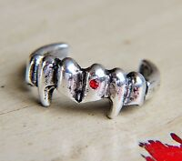 Gothic Vampire / Dracula Fangs Silver Cuff Ring W/ Red Crystal Blood Drop Bling