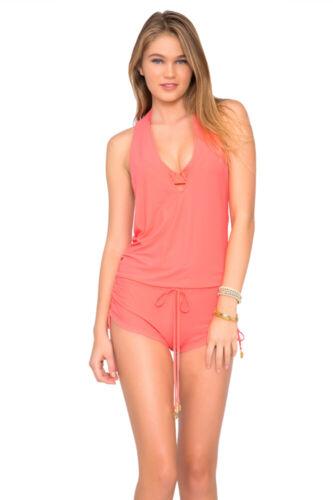 NWT S M L Luli Fama Cosita Buena T-Back Romper Swimwear Cover Up Blue Coral