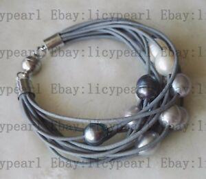 15-Reihe-11-12mm-kultiviert-Weiss-grau-schwarz-Barock-Suesswasser-Perlen-armband