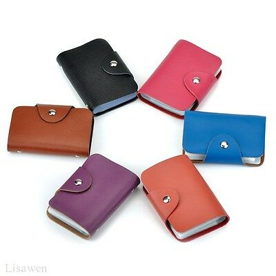 Top Quality Genuine Cowhide Leather Female ID Credit Card Case Holder Pocket