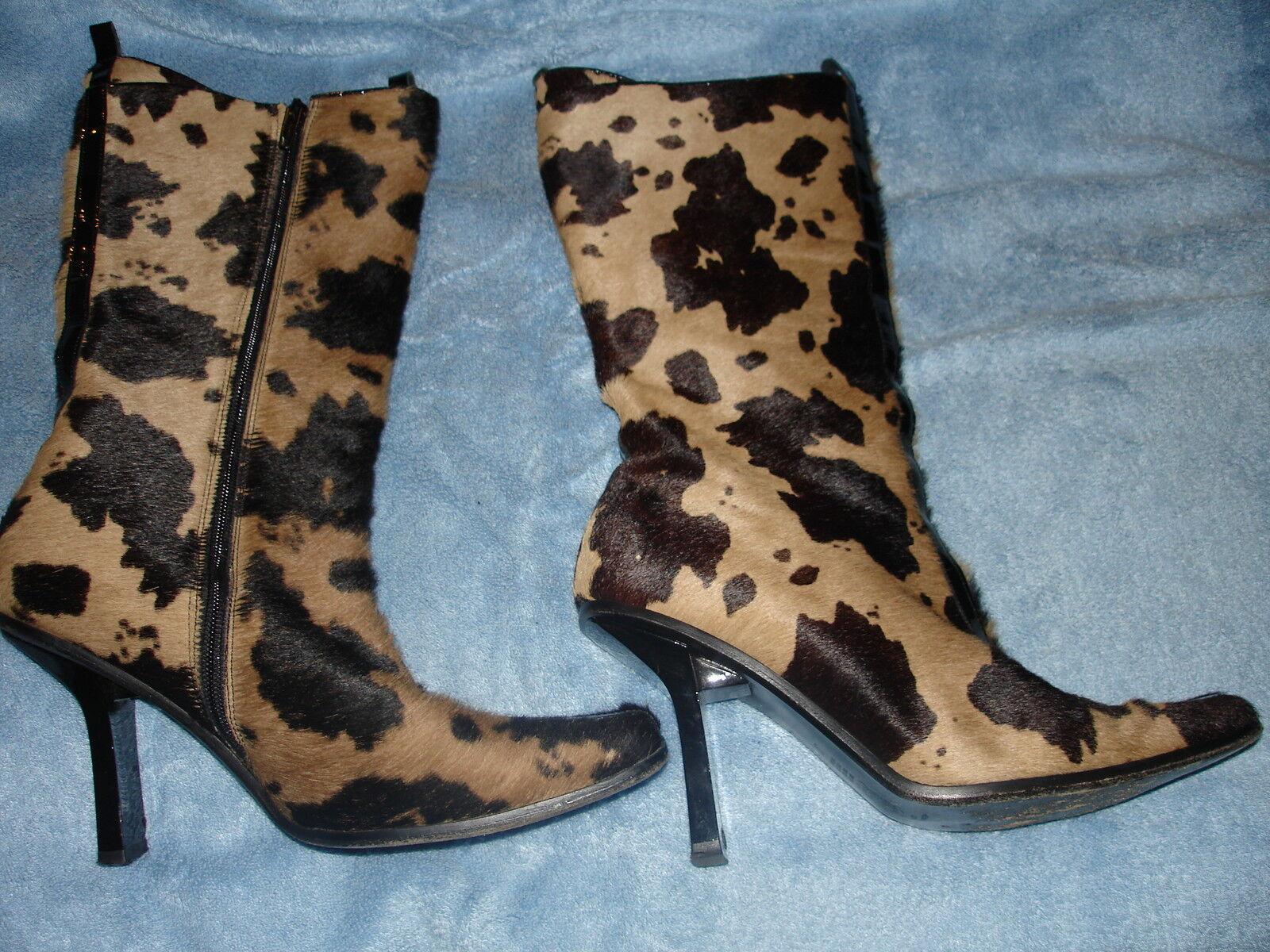 Alluminio Pony Hair Beige and Black Animal Print Boots