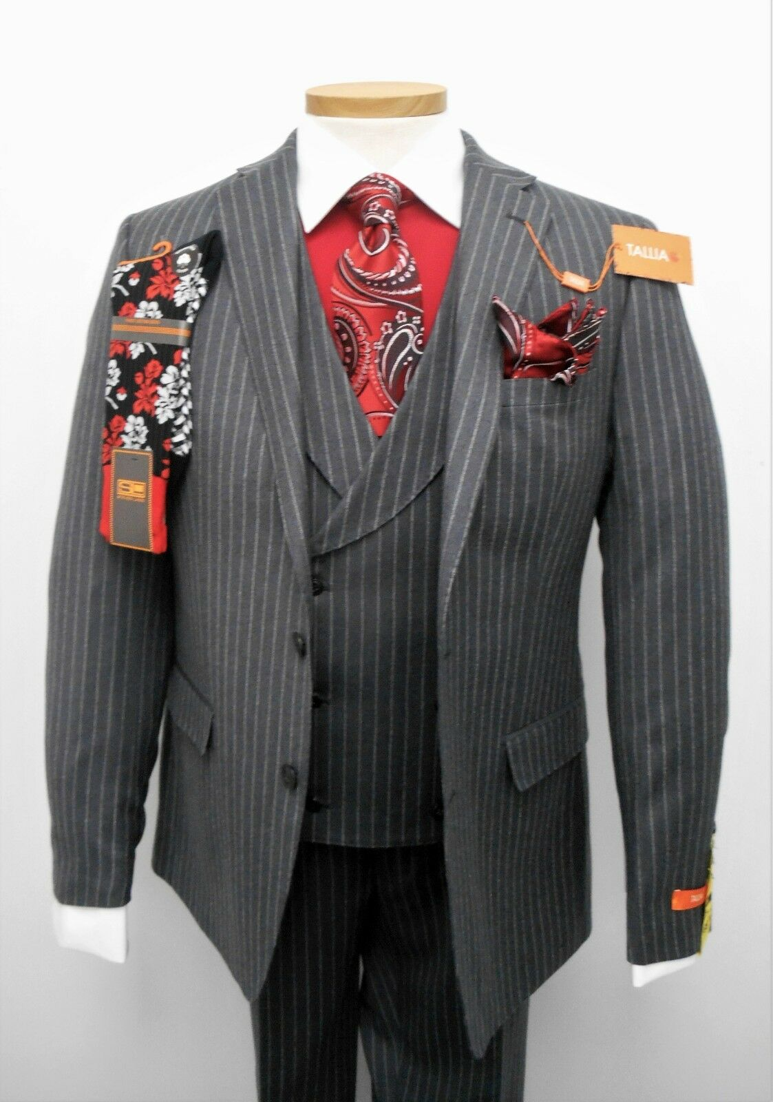 Tallia Charcoal Pinstripe 100% Wool Men's Vested Suit Retail  NOW