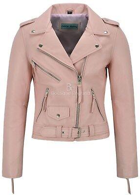 Ladies Biker Leather Jacket BlackCasual FASHION Hip Length REAL NAPA 2812
