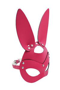 Pink PU Leather Rabbit Bunny Head Animal Half Mask Cosplay Costume Accessory