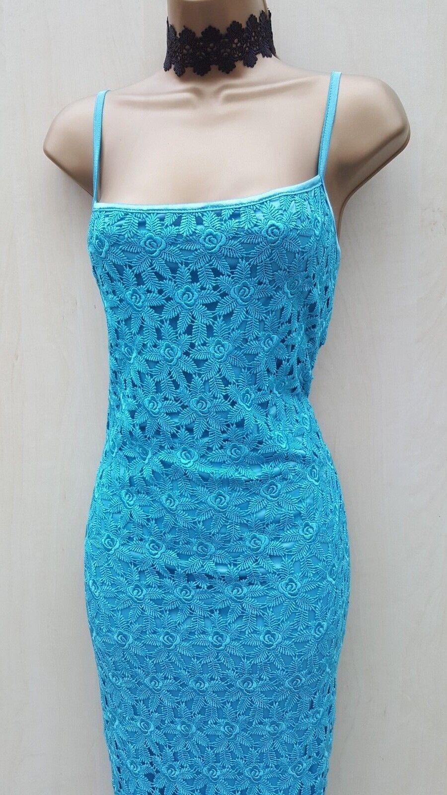 Size 10 UK KAREN MILLEN Vintage 20's Turquoise Floral Lace Cruise Party Dress