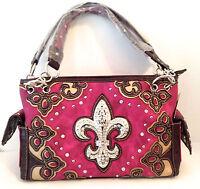 Concealed Carry Gun Handbag Case Rhinestone Women Purple Fleur De Lis Purse