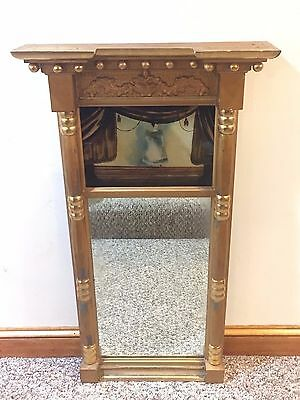 Antique Federal Split Column Mirror With Reverse Painting