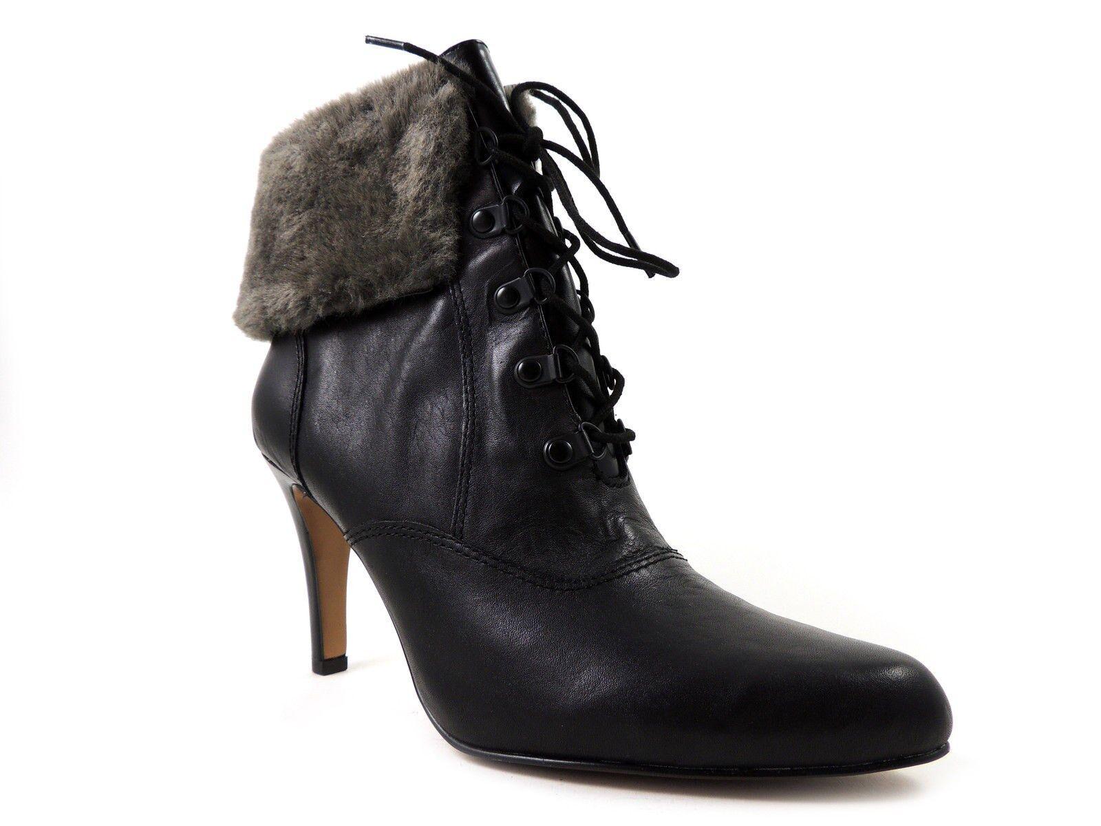 Ellen Tracy Women's shoes, Return Fashion - Ankle Boots Black Grey Leather 10