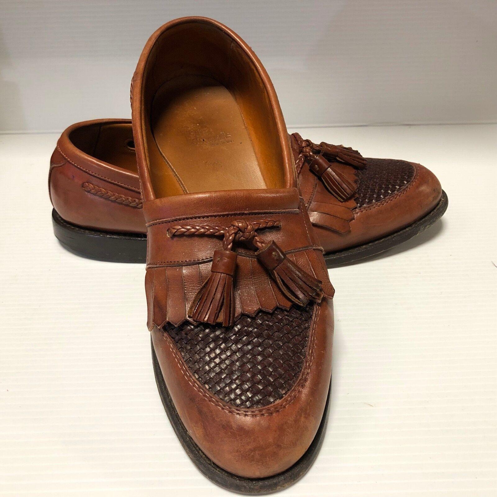 31075 Allen Edmonds Cody Tassel Woven Toe Loafers Men's 11 D Brown
