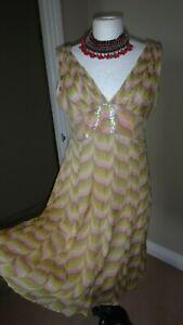 KAREN-MILLEN-Yellow-Pink-100-Silk-Sequins-Dress-Slip-Fit-amp-Flare-Floaty-UK-16