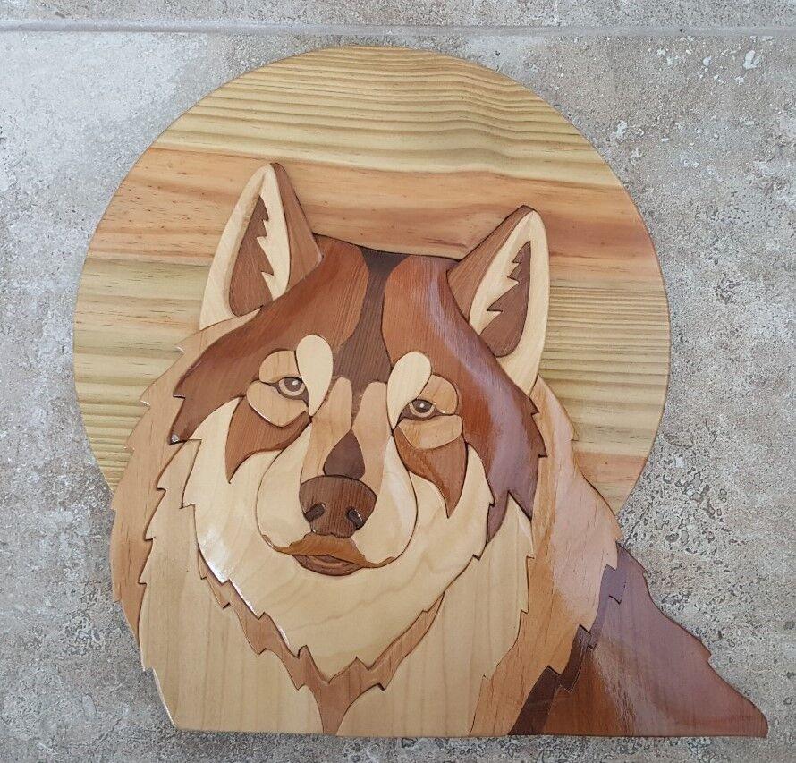 Intarsia Wood Art  Handcrafted -WOLF-