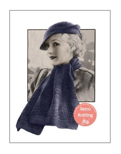 1930 s VINTAGE KNITTING PATTERN for un chapeau et correspondants foulard copie