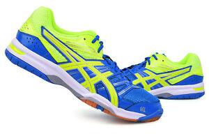 e0f2506ab9a7 ASICS GEL ROCKET 7 Men's Badminton Shoes Sports Indoor Yellow Blue ...