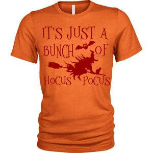 Hocus-Pocus-Halloween-T-Shirt-Strega-Scopa-Unisex-da-Uomo