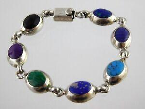 Taxco-Mexico-950-Sterling-Silver-Multi-Stone-Link-Bracelet-7-75-Inch-Malachite