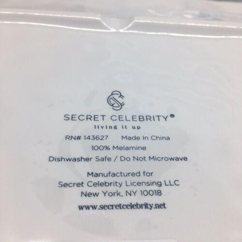 x4 Secret Celebrity Melamine Square Dinner Plate Set Sea Turtle Ocean Blue White