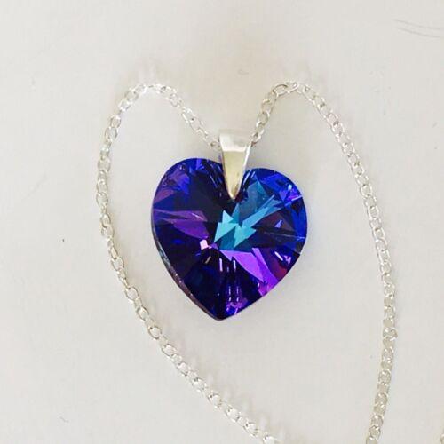 Swarovski Elements Necklace Pendant Crystal Heart Jewellery Heliotrope Silver