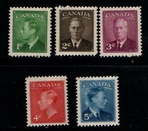 Canada 1949 1951 King George VI part set SG414-15, 416-17, 418 Sc 284-88 Mint MH