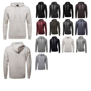 FashionOutfit-Men-039-s-Casual-Solid-Cotton-Based-Long-Sleeves-Drawstring-Hoodie
