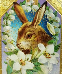 Easter-Greetings-Bunny-Rabbit-Lillies-Postcard-Embossed-Edges-Barton-amp-Spooner1912
