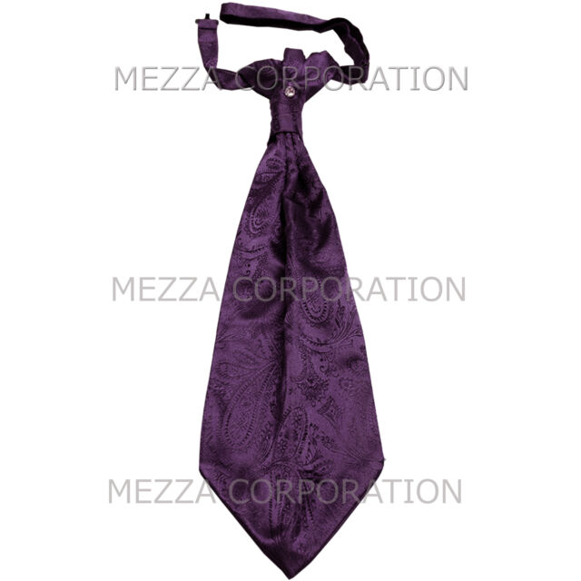 New Vesuvio Napoli Men/'s Polyester Ascot Cravat Necktie Hankie Paisley Grape
