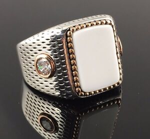 Handmade-925-Sterling-Silver-White-Onyx-w-cz-Stone-Men-039-s-Ring-US-Seller-K3P
