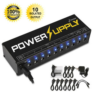 Donner-10-Isolated-Output-9V-12V-18V-Guitar-Effect-Pedal-Power-Supply-and-Cables