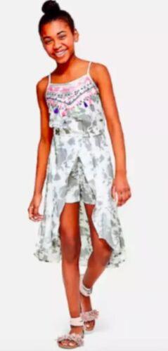 Nwt Justice Grey Romper Maxi Dress Size 18 Summer Party Fun Beach