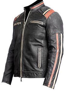Black Cafe Motorcycle Men's Leather Biker Distressed Vintage Racer Jacket Retro TqOxESYw
