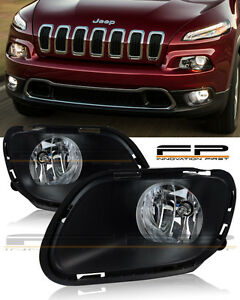 For-2014-2017-Jeep-Cherokee-Clear-Fog-Lights-Full-Complete-Kit-Switch-Wiring