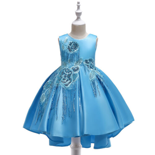 Children Girls Holiday Sequin Pleated Dress Princess wedding Party Dress ZG8