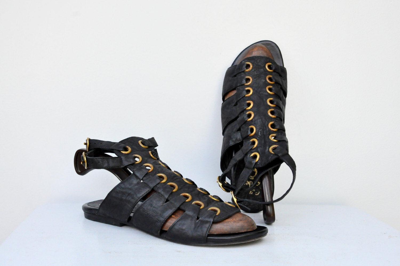 Calleen Cordero Sandalias Gladiador Cuero Negro Sandalias Gladiador Diseñador Diseñador Diseñador 8.5  Venta en línea precio bajo descuento
