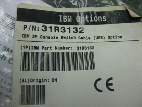 IBM 3M Console Switch Cable PN 31R3132 NEW USB