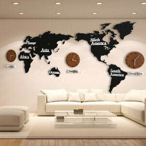 Details About Living Room DIY 3D Wooden MDF Digital Wall Clock Large Size  World Map Wall Clock