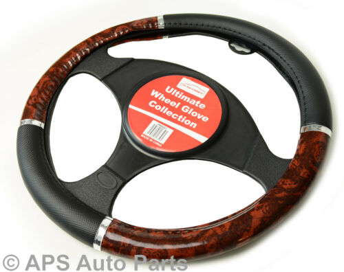 Luxury Steering Wheel Cover Wood Effect Grip Wheel Protector Car Glove Soft
