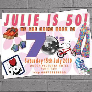Themed Fancy Dress Birthday Party Invitations Seventies 70s x 12