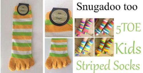 SNUGADOO Kids Super Soft 5 Toe Novelty Toe Socks New Yellow White Green