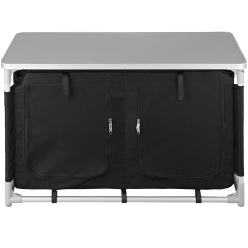 Camping Kitchen Robust Aluminium Compartments Storage Stable Outdoor Black New