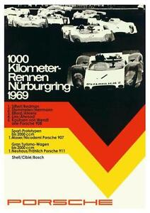 Porsche 1000 KM Nurburgring Vintage Poster on Paper//Canvas