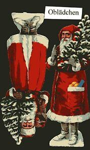 L/&B oder Z/&M ? # GLANZBILDER #  alter Bogen mit 2 Weihnachtsmännern Bäckerei