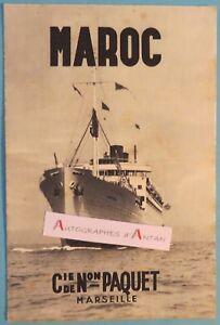 MAROC-1934-Compagnie-de-Navigation-PAQUET-publicite-depliant-PAQUEBOTS-Morocco
