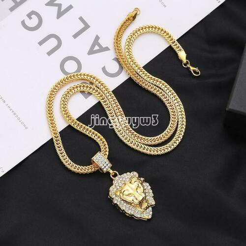 Mens Chain Necklace Lion Head Pendant Necklace Gold Cuban Rhinestone Gift Cool