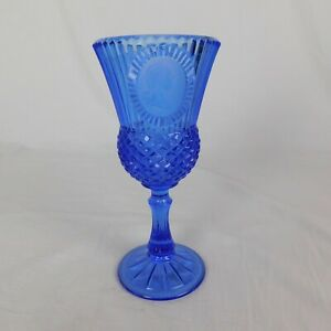 Avon-Vintage-Fostoria-Mt-Vernon-Blue-Glass-Goblets-George-Washington-8-5-034-tall