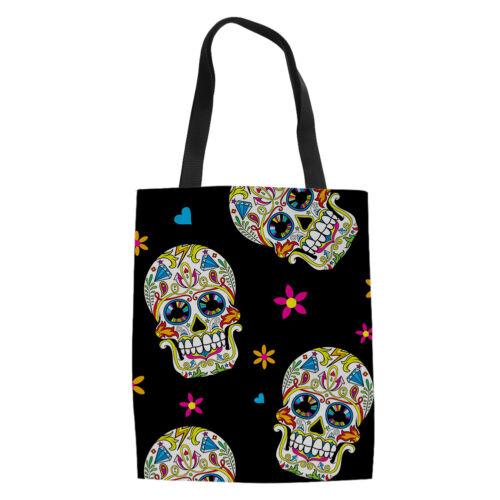 Women Black Shoulder Handbag Skull Designs Canvas Totes Open Shopper Hobo Bag