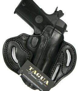 TAGUA Premium Black Leather RH OWB Open Top Belt Holster for