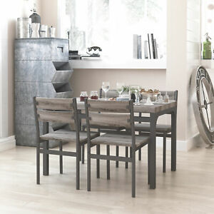 Zenvida-5-Piece-Dining-Set-Rustic-Grey-Wooden-Kitchen-Table-and-4-Chairs